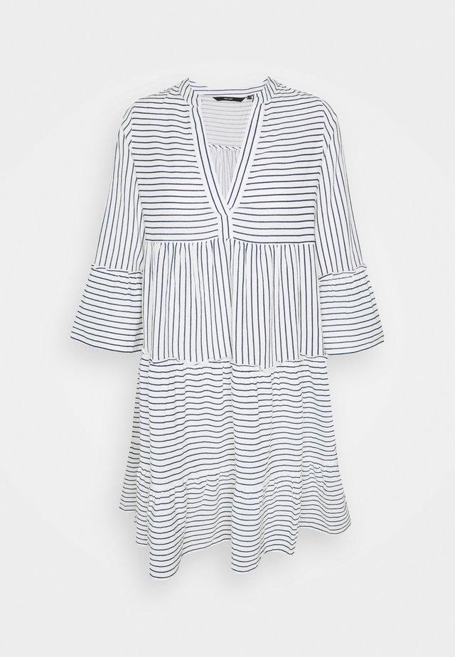 VMHELI 3/4 SHORT DRESS TALL - Day dress - snow white/navy blazer