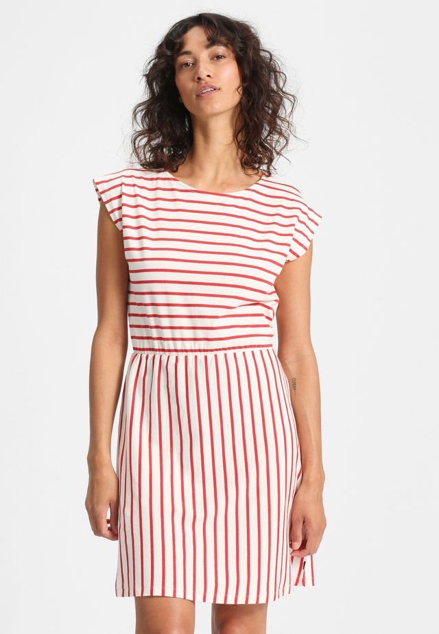 MARISOL - Jersey dress - beige/red