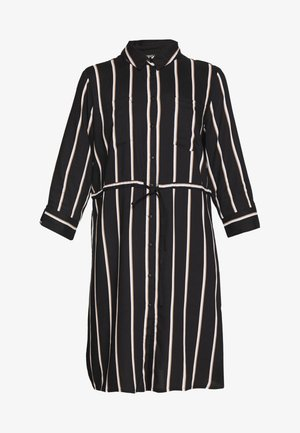ONLTAMARI DRESS - Shirt dress - black/white/camel stripe