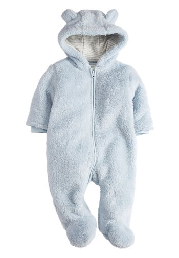 BLUE COSY FLEECE BEAR PRAMSUIT (0MTHS-2YRS)