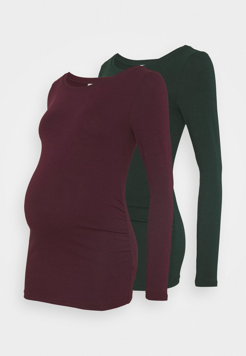 Anna Field MAMA - 2 PACK - Long sleeved top - dark green/bordeaux