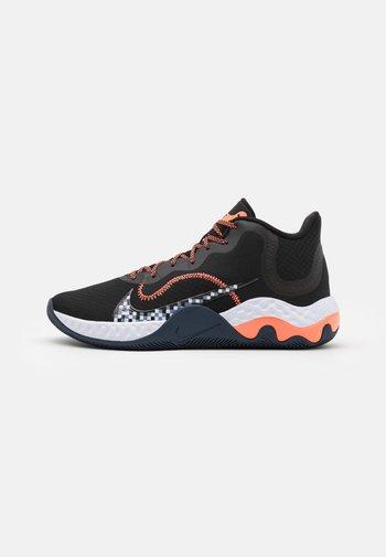 RENEW ELEVATE - Basketball shoes - black/bright mango/thunder blue