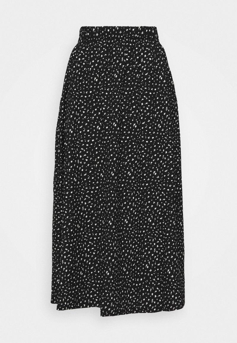 ONLY Petite - ONLZILLE MAXI SKIRT PETIT  - Maxi skirt - black/white ditsy