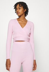 Missguided - WRAP FRONT LONG SLEEVE SET - Leggings - Trousers - pink - 6
