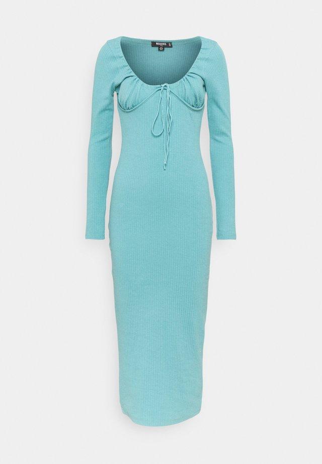DRAWSTRING TIE BUST MIDAXI DRESS - Jersey dress - blue