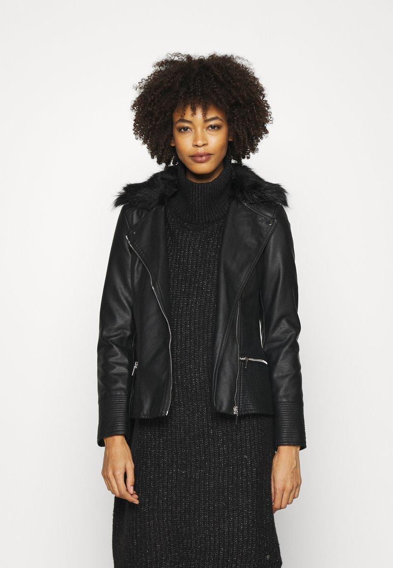 Wallis - BIKER - Faux leather jacket - black