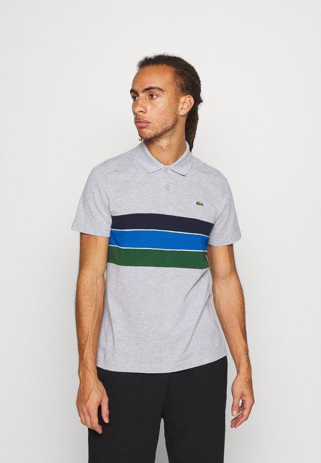 RAINBOW STRIPES - Polo shirt - silver chine/green/navy blue/white