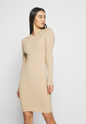 Knitted jumper mini high neck dress - Shift dress - sand
