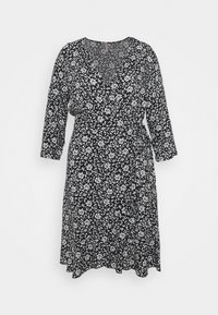 ONLY Carmakoma - CARLOLLIB KNEE WRAP DRESS - Robe d'été - black/cloud dancer - 5