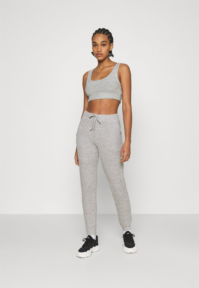 COSY BRUSHED SET - Tracksuit bottoms - grey