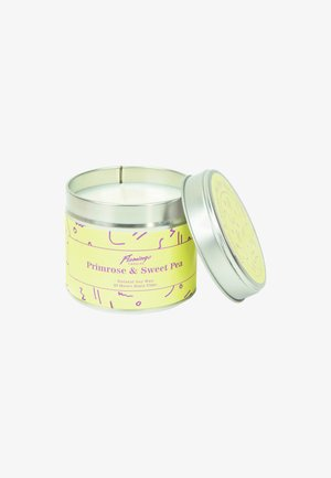 TIN CANDLE - Duftlys - primrose & sweet pea yellow squiggle