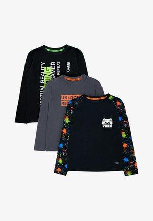 3ER PACK - Long sleeved top - black/grey