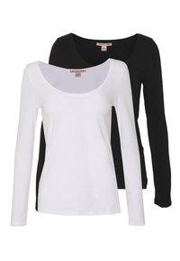 Anna Field - 2 PACK - Langærmede T-shirts - black/white - 0