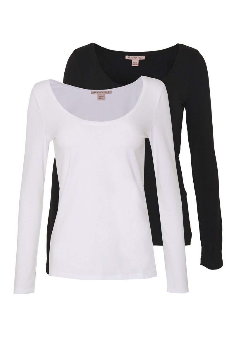 Anna Field - 2 PACK - Langærmede T-shirts - black/white