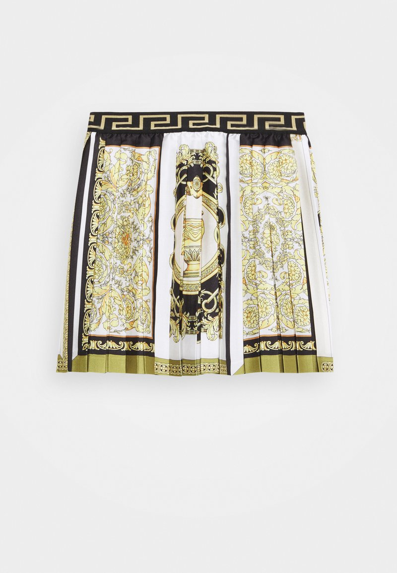 Versace - SKIRT PRINT HERITAGE - Pleated skirt - white/gold/kaki