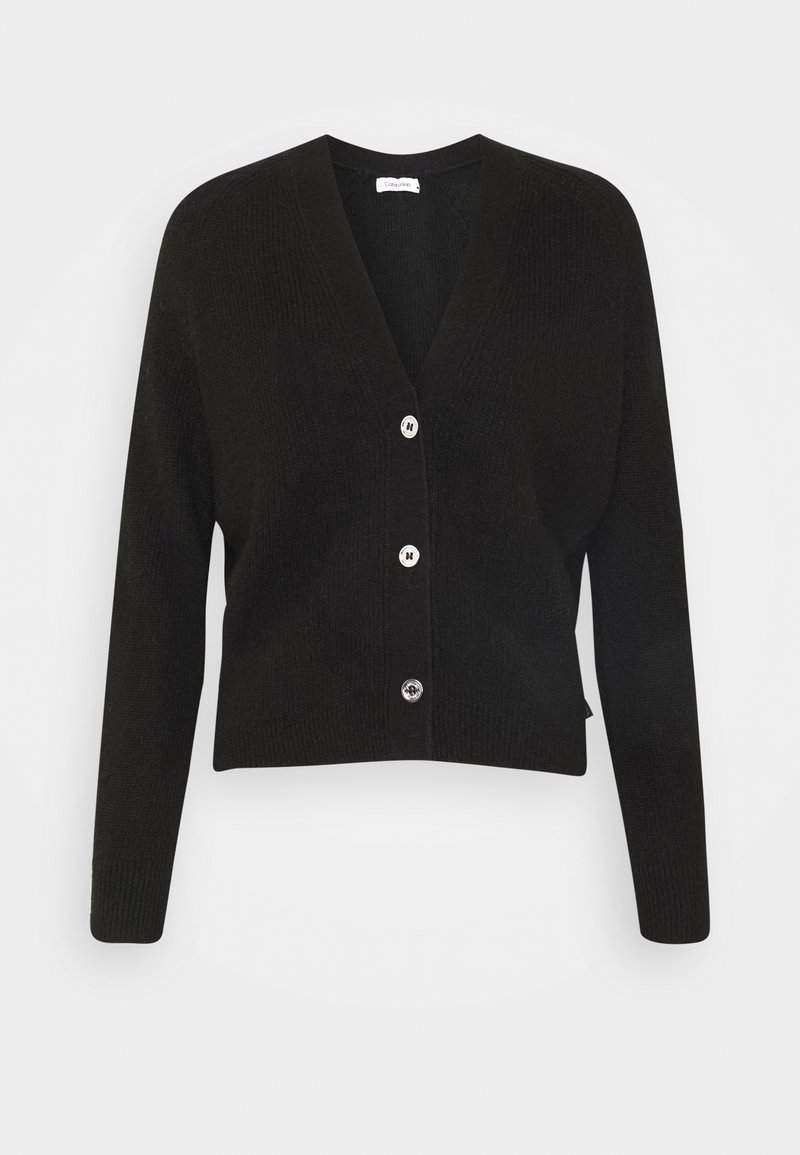 Calvin Klein - SHORT BUTTON UP FLUFFY  - Cardigan - black