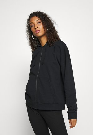 Oversized Zip Through Hoodie Jacket - Collegetakki - black