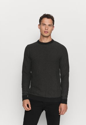 SLHAIDEN CREW NECK  - Jumper - medium grey melange/black