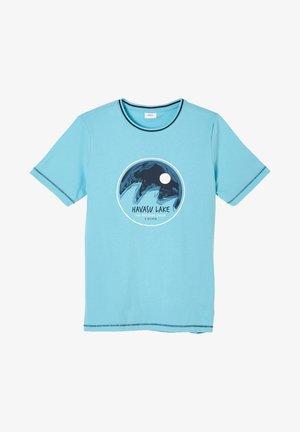 MIT KONTRAST DETAILS - Print T-shirt - turquoise