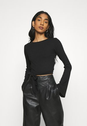 KNOT DETAIL OPEN BACK - Long sleeved top - black