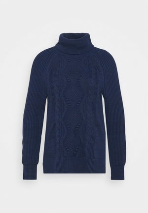 CABLE TURTLENECK - Neule - navy marl