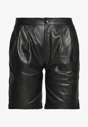 CAROLINE SHORTS - Leather trousers - black