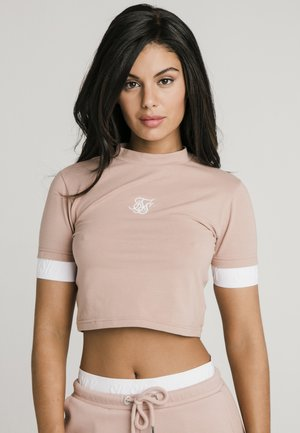 TAPE CUFF CROP  - Print T-shirt - rose