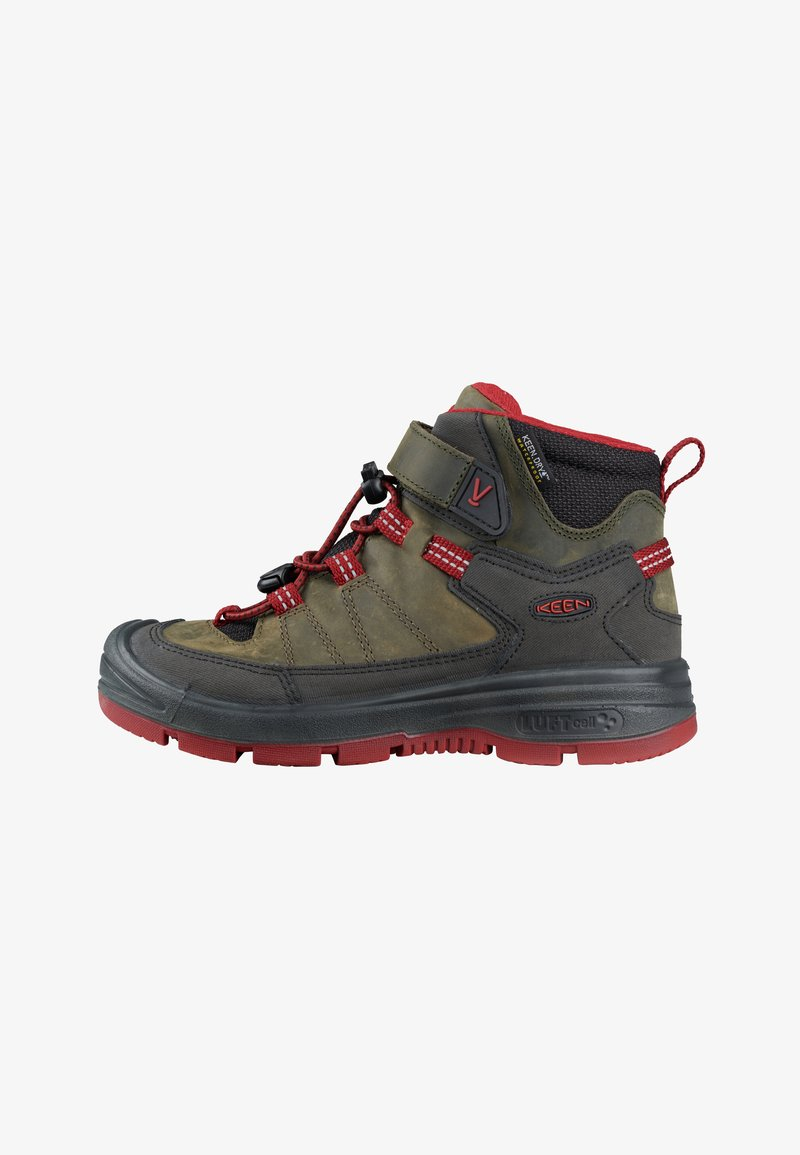 Keen - REDWOOD MID WP - Mountain shoes - steel grey/red dahlia