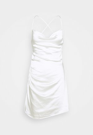 WATERFALL DRAPED MINI DRESS - Sukienka koktajlowa - white