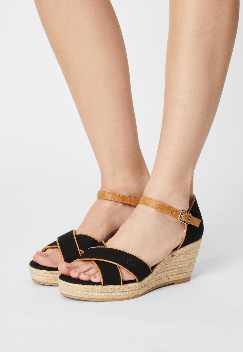 s.Oliver - Platform sandals - black