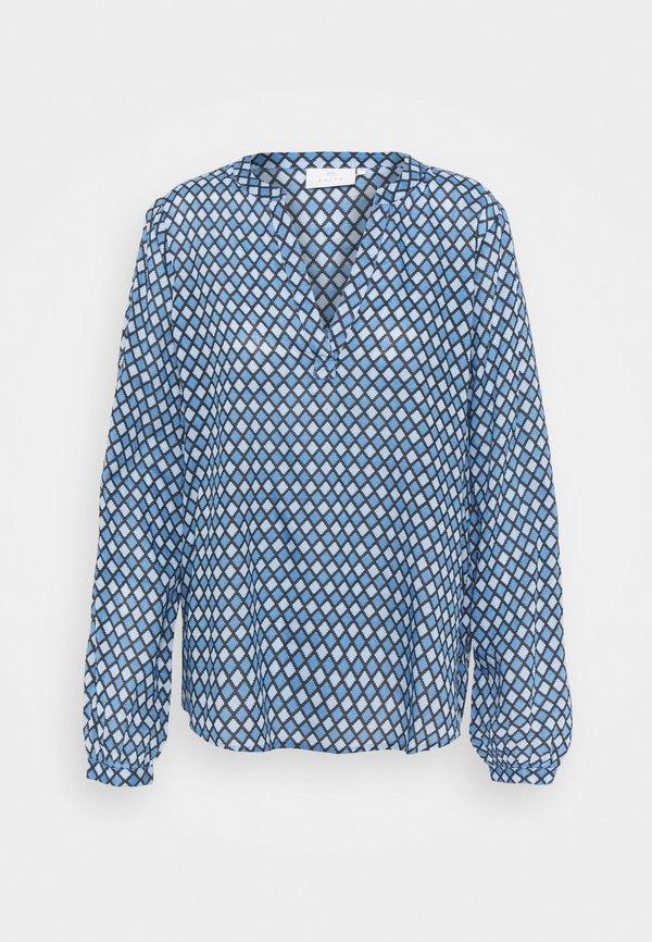 Kaffe KASARY TILLY BLOUSE - Bluzka z długim rękawem - blue tone diamond/błękit krÓlewski HGJC