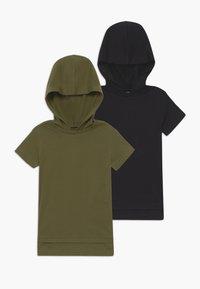 Friboo - 2 PACK - T-shirt print - black/khaki - 0