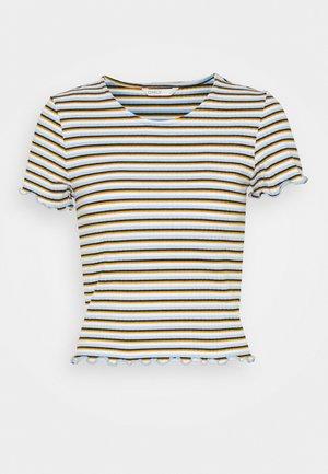 ONLEMMA STRIPE - Camiseta estampada - cloud dancer/blue/yellow stripes