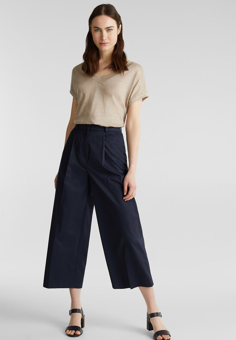 Esprit Collection - HIGH RISE CULOTTE - Trousers - navy
