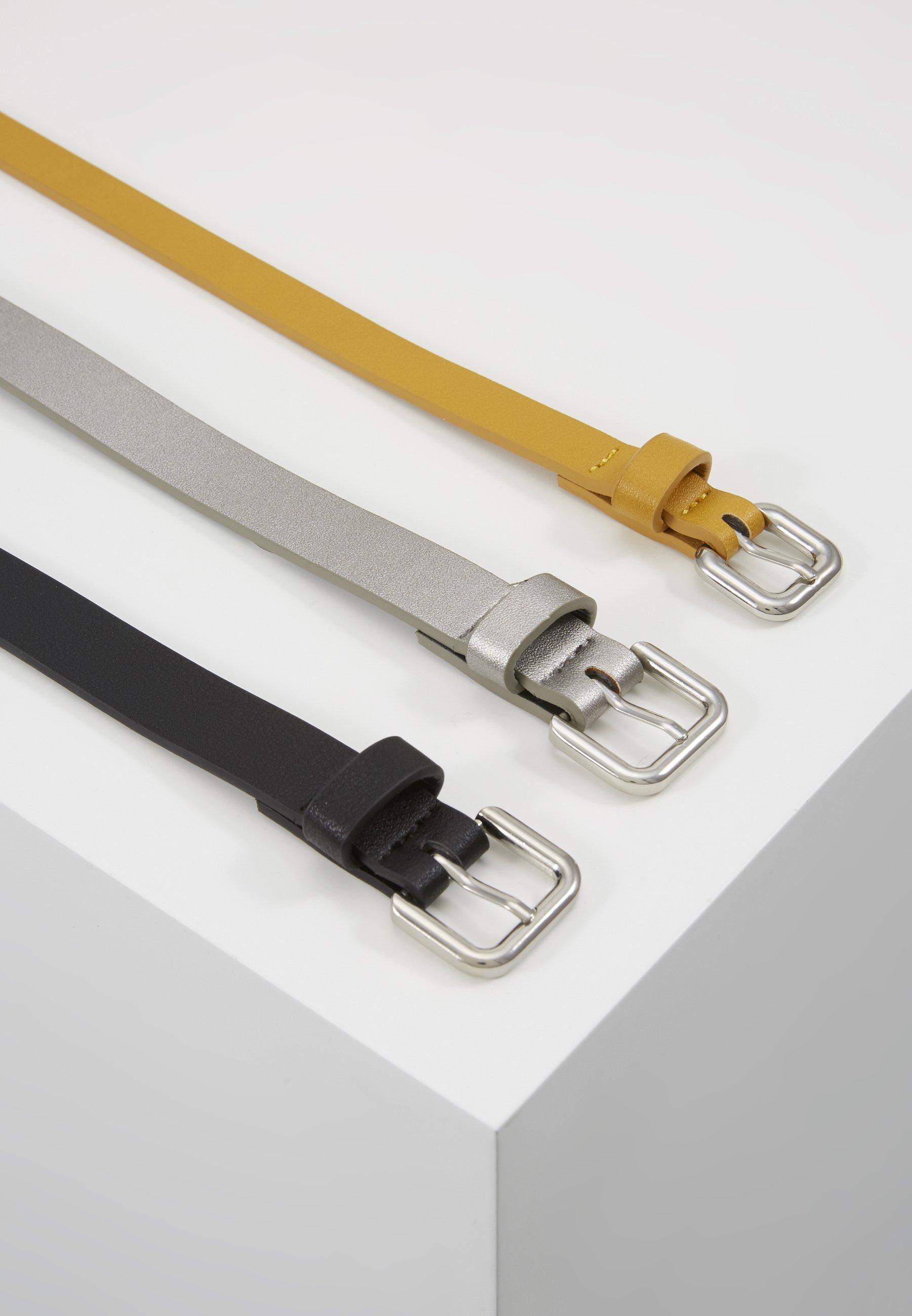 Even&Odd 3 PACK - Belte - black/yellow/gunmetal/svart RbL4GBVsseIa3cJ