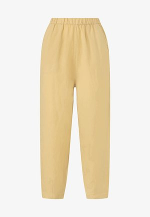 MIT LEINENANTEIL - Trousers - light yellow