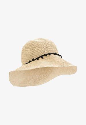 MIT KONTRASTBAND & POMPONS - Hat - naturel