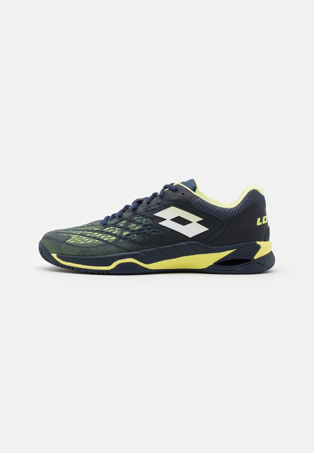 MIRAGE 100 CLY - Chaussures de tennis pour terre-battueerre battue - navy blue/yellow neon/all white