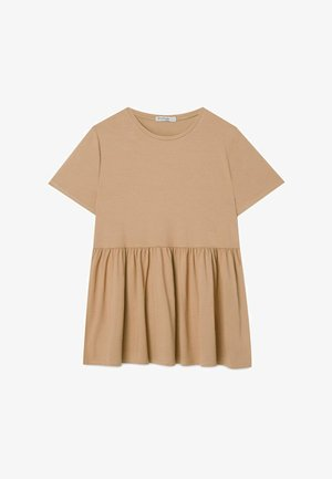 BASIC-PEPLUM - T-Shirt print - beige
