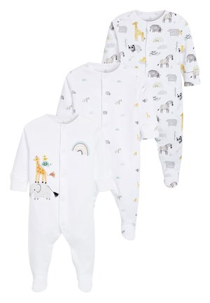 ECRU 3 PACK GOTS ORGANIC COTTON ANIMAL SLEEPSUITS (0-12MTHS) - Kruippakje - off-white