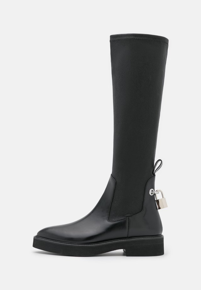 FLAT HIGH SOCK BOOT - Plateaulaarzen - black