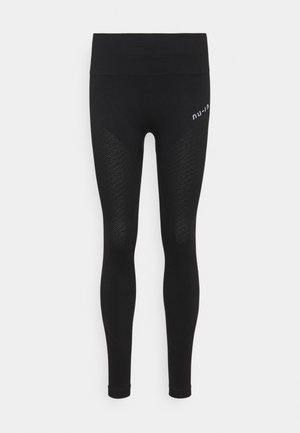 SEAMLESS HIGH WAIST DETAIL LEGGINGS - Leggings - black