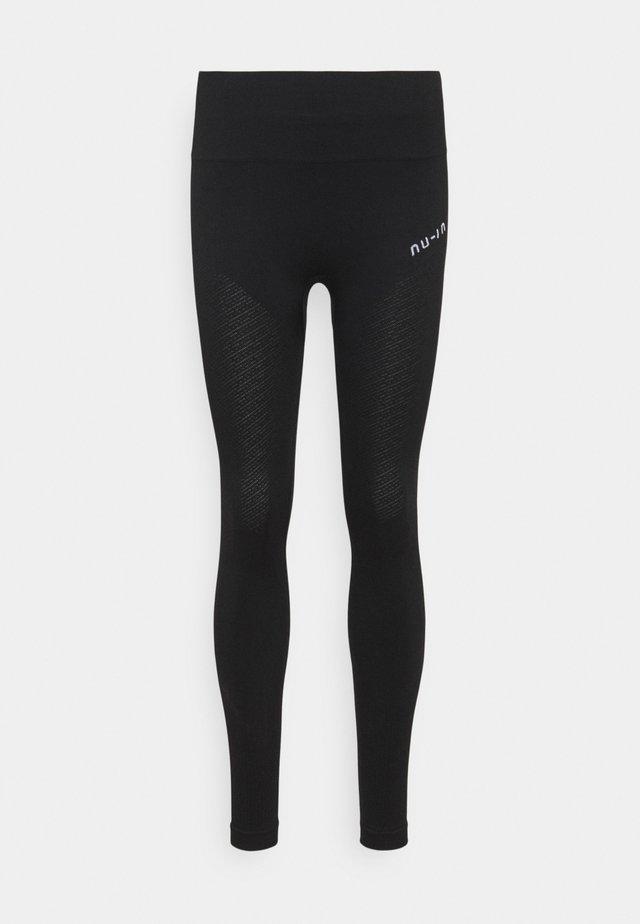 SEAMLESS HIGH WAIST DETAIL LEGGINGS - Leggings - black