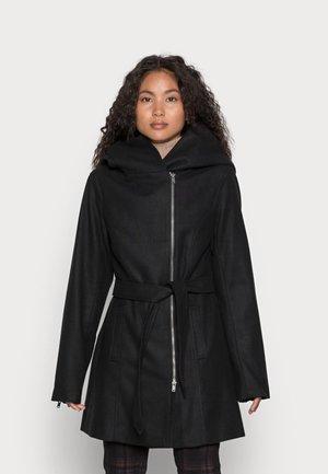 HOODIE COAT WITH ZIP - Krátký kabát - black