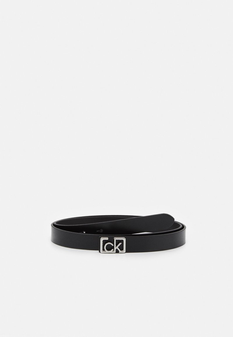 Calvin Klein - PLAQUE SKINNY BELT  - Pásek - black
