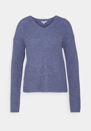 CHUNKY V NECK - Jumper - blueberry blue melange