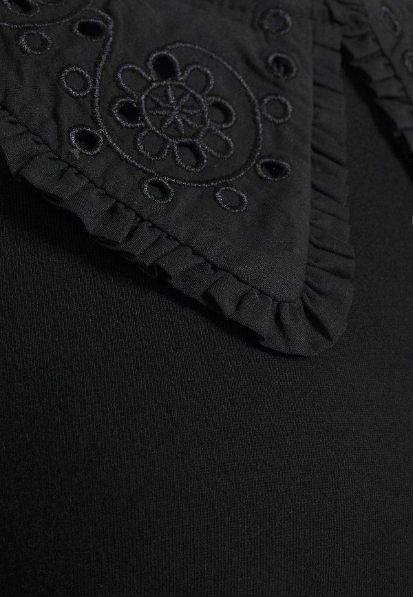 Dorothy Perkins Tall EMBROIDERED COLLAR TOP - Bluzka - black/czarny PBTM