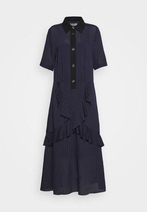 STRIPE RUFFLE DRESS - Shirt dress - navy