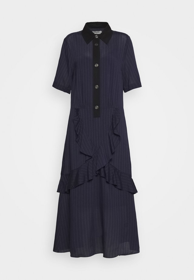 STRIPE RUFFLE DRESS - Shirt dress - navy