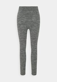Zign - High waist ribbed seamless leggings - Leggings - Trousers - mottled dark grey - 1